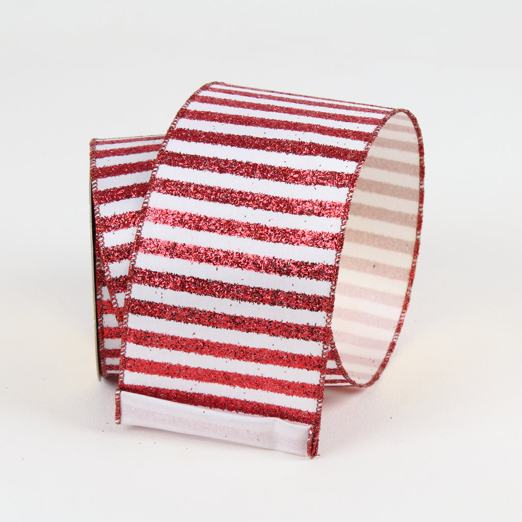 Rail Road Stripes Red & White Ribbon
