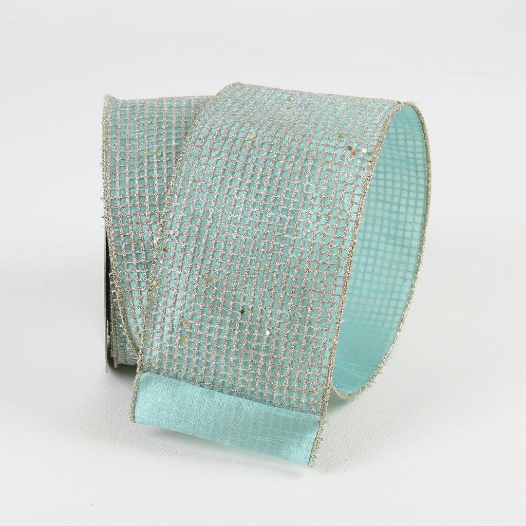 Glitz Net Teal Wired Ribbon