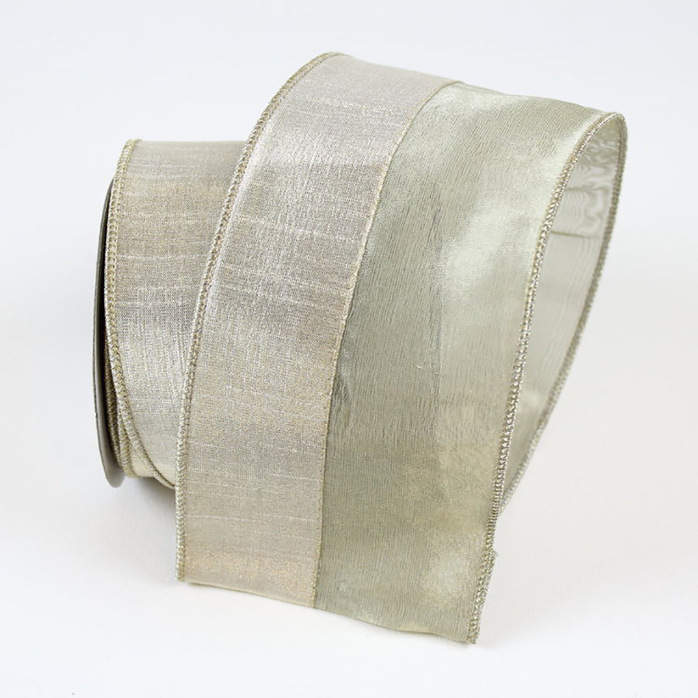 Sheer Metallic Platinum Ribbon