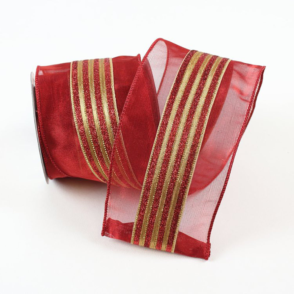 Shimmering Stripes Red & Gold Ribbon