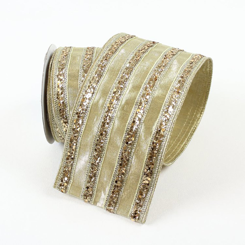 Chunky Glitter Striped Gold Ribbon