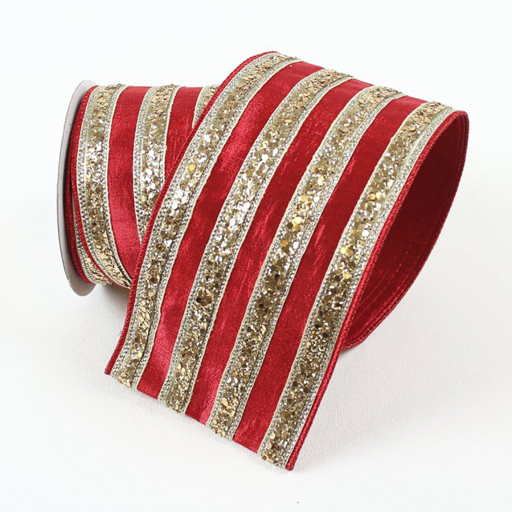 Chunky Glitter Stripes Red & Gold Ribbon