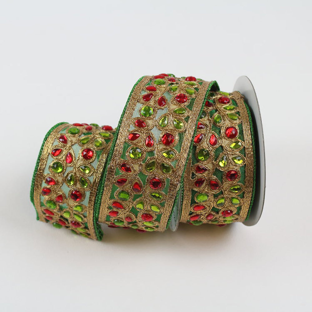 Two Toned Jewels Red & Green Ribbon