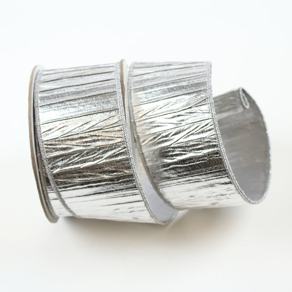 Crushed Foil Silver Ribbon