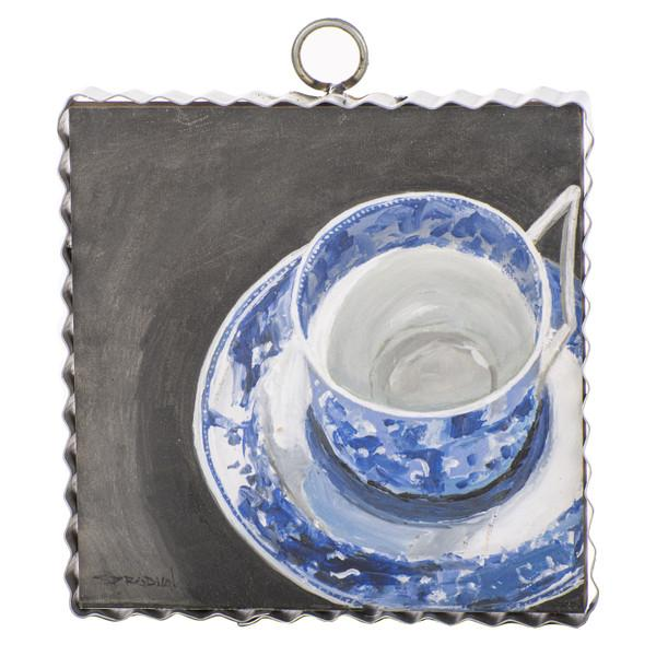 Gallery Blue and White Teacup and Saucer