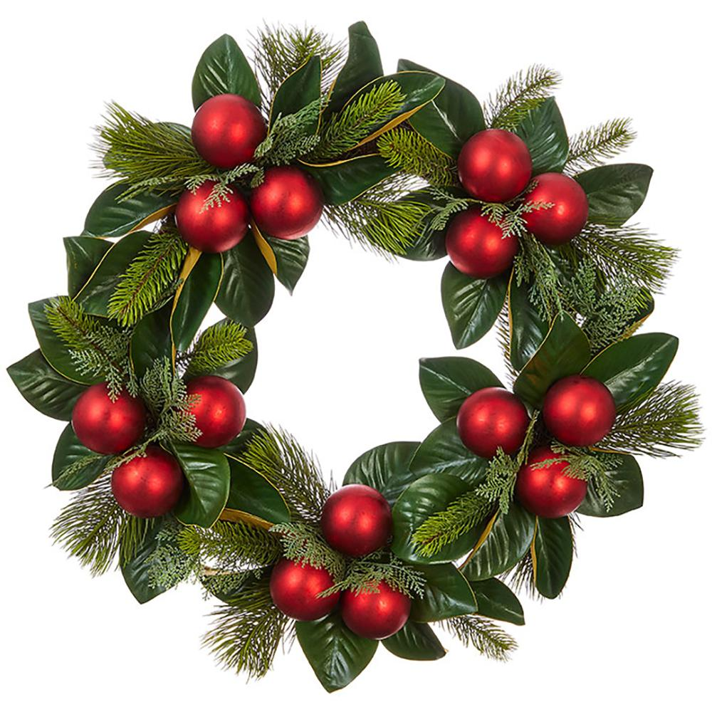 "26"" Magnolia Leaf and Red Ornament Wreath"