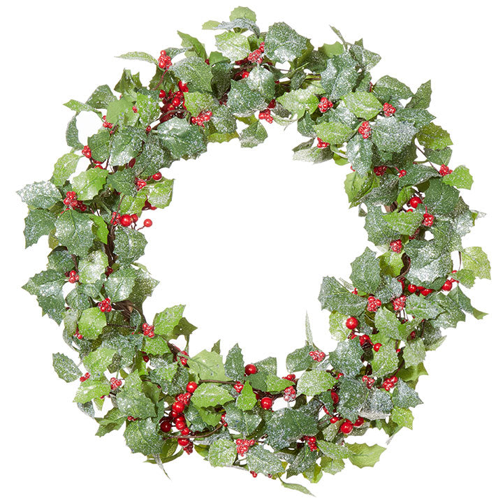 "20"" Iced Holly and Berry Wreath"