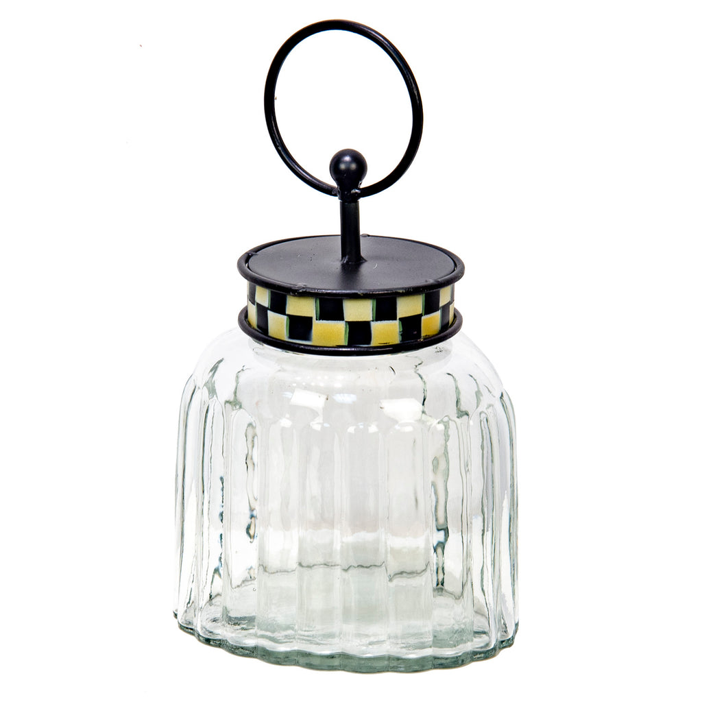 Elegant Checked Oval Glass Jar
