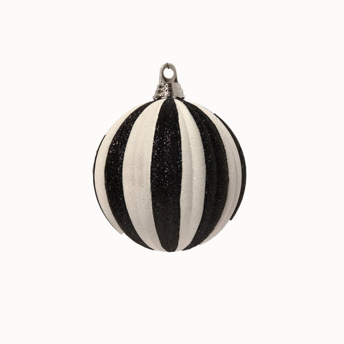 Black and White Glitter Pleated Ball