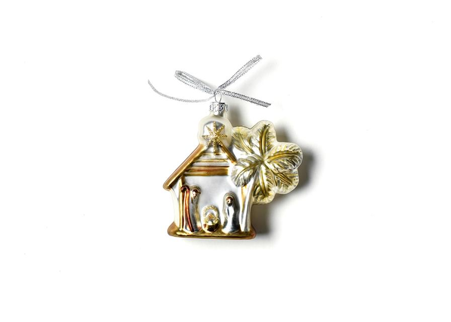 Neutral Nativity Manger Shaped Ornament