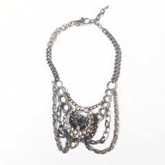 Rhinestone Buckle Drape Necklace