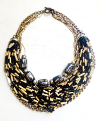 Wood Bead Statement Necklace