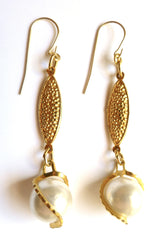 Pearl and Pebbled Gold Drop Earrings