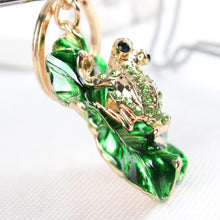 Load image into Gallery viewer, Lovely Rhinestone Frog Sitting on a Green Lotus Leaf Keychain Charm