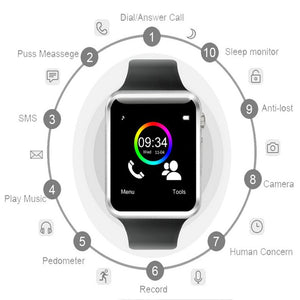Bluetooth Smart Sports Watch Featuring A Pedometer With SIM and Camera For Android