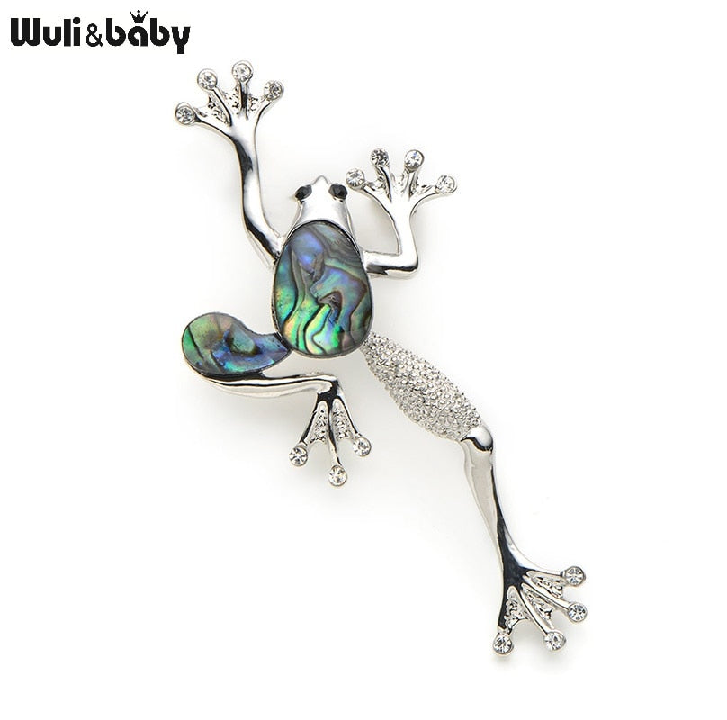 Natural Shell Frog Brooch Pins For Dress Fashion