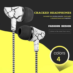 """Crackled and Braided"" Wired Earbuds with Microphone and 3.5mm Universal Connection"