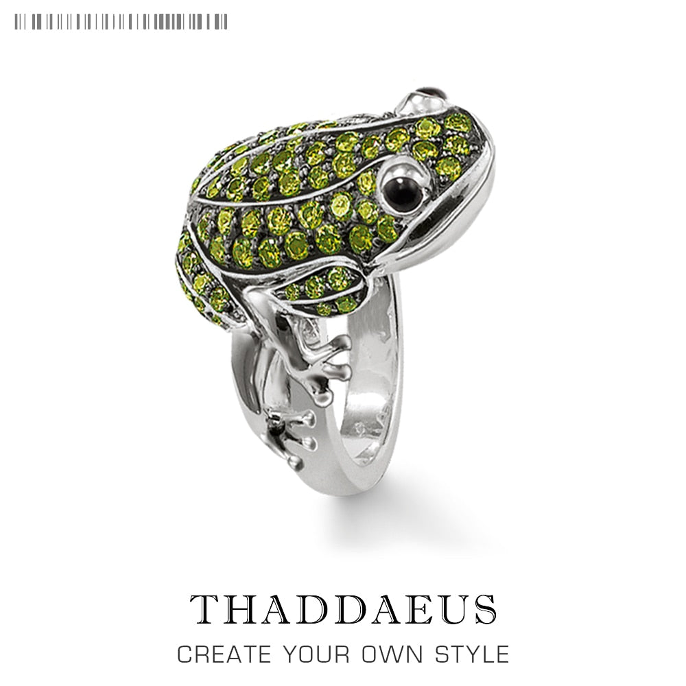 Green Frog Cocktail Ring,Thomas Style In 925 Sterling Silver