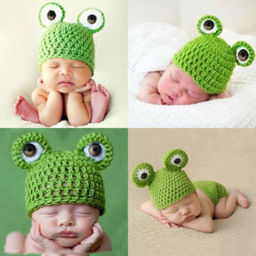 Knit Frog Crochet Cap for Newborn Baby Kids Photography Prop