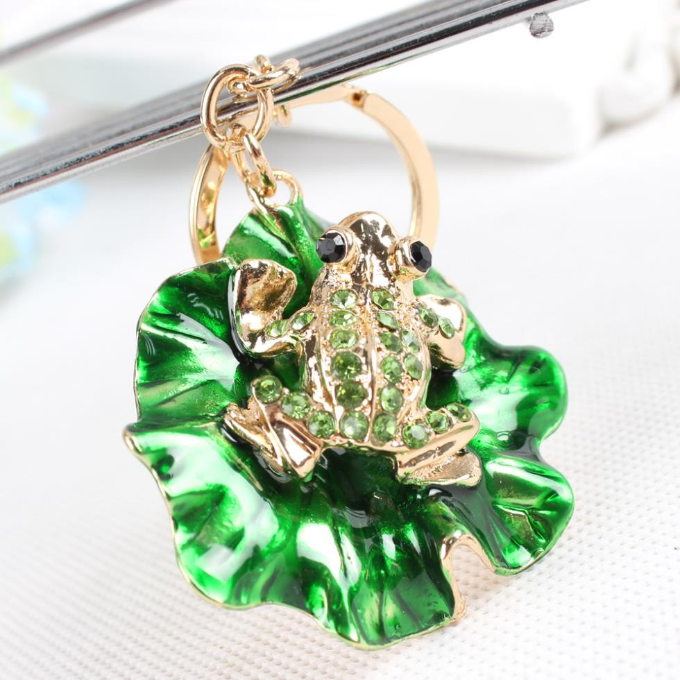 Lovely Rhinestone Frog Sitting on a Green Lotus Leaf Keychain Charm