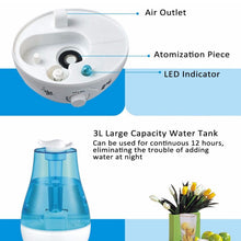 Load image into Gallery viewer, Ultrasonic Air Humidifier with LED Lamp