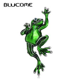 Blucome Fashion Green Frog Brooch Jewelry Pin