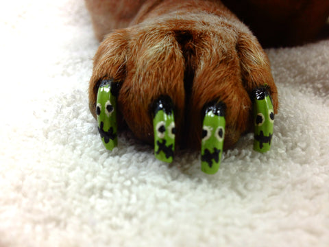 dog monster faces nail art