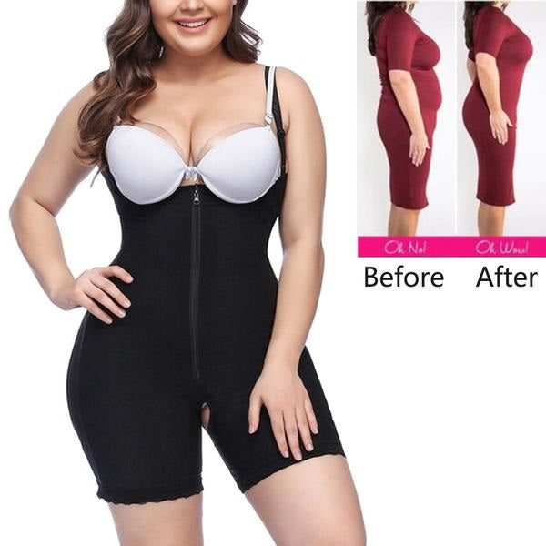 Plus Size Women Full Body Shapewear ( Mid thigh Shaper With Lace Tummy)