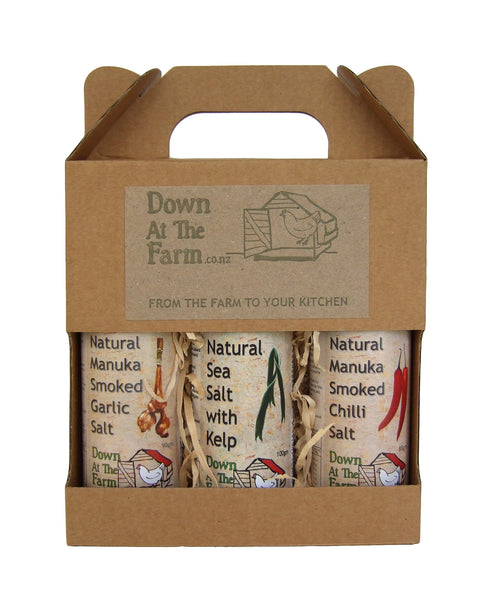 Gift Box Natural Manuka Smoked Garlic Salt, Chilli Salt, Sea Salt & Kelp