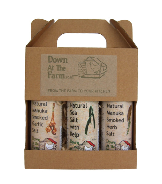 Gift Box Natural Manuka Smoked Garlic Salt, Herb Salt, Sea Salt & Kelp
