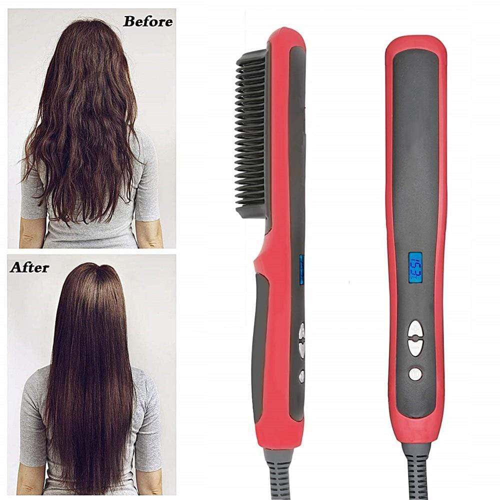 LCD Heated Ceramic Hair Straightener Brush Perfect Cart
