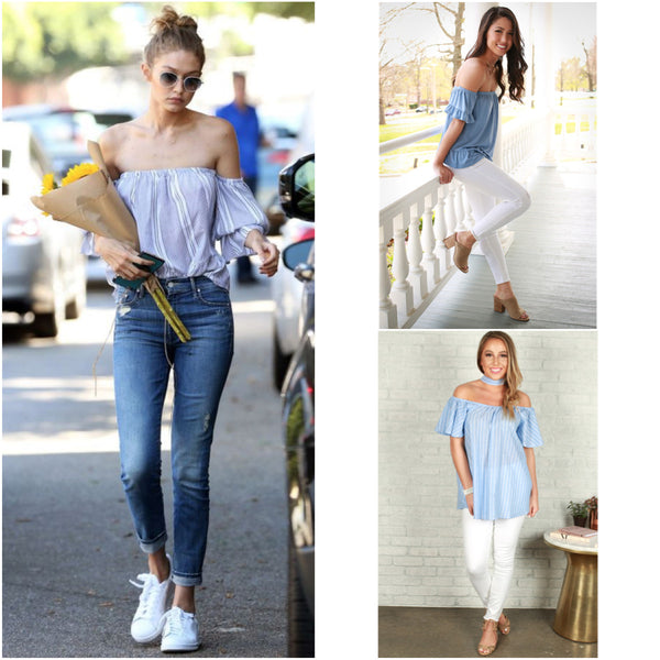b4e19d228d6c3e Gigi Hadid is killing the fashion game in this casual outfit as a go-to for  a farmer s market morning! Our Off The Shore Off Shoulder Top in Periwinkle  is a ...