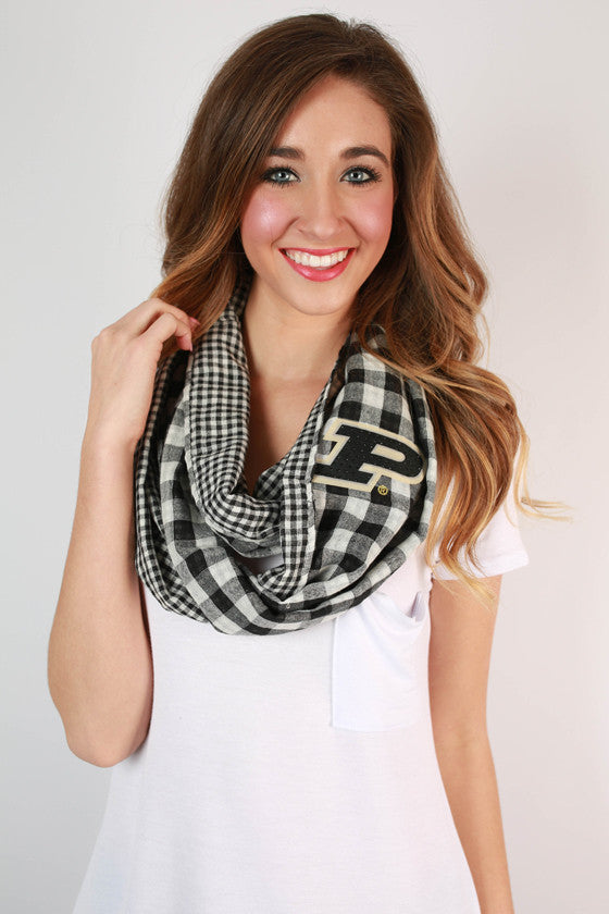 Purdue University Gingham Infinity Scarf