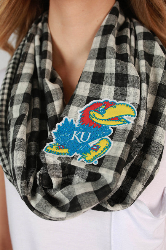 University Of Kansas Gingham Infinity Scarf
