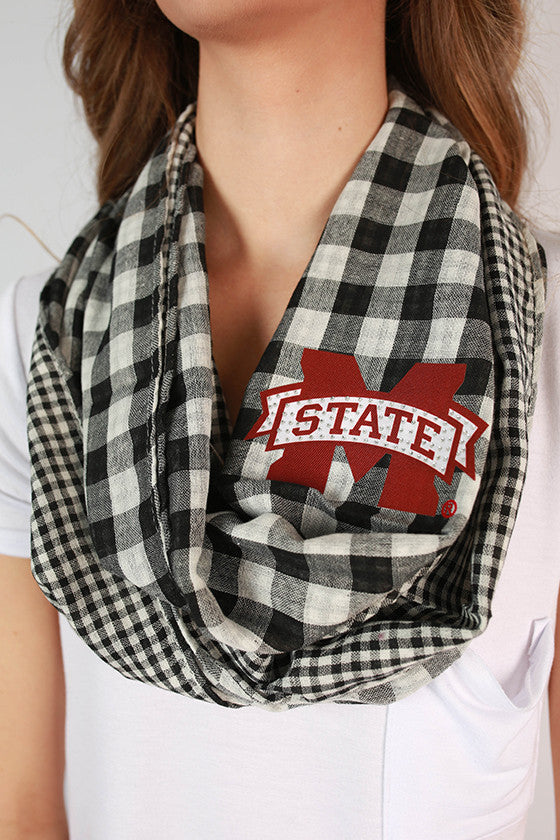 Mississippi State University Gingham Infinity Scarf