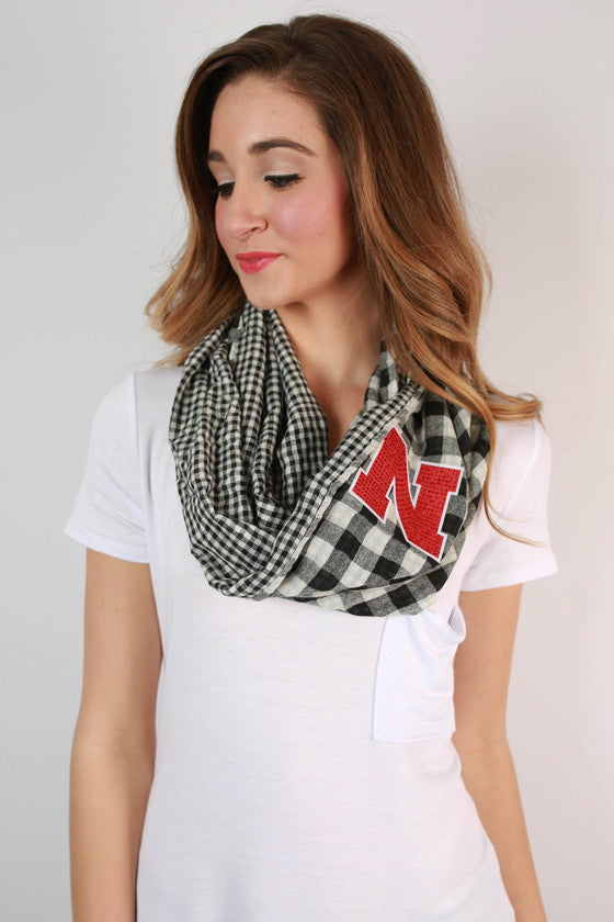 University Of Nebraska Gingham Infinity Scarf