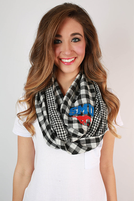 Southern Methodist University Gingham Infinity Scarf