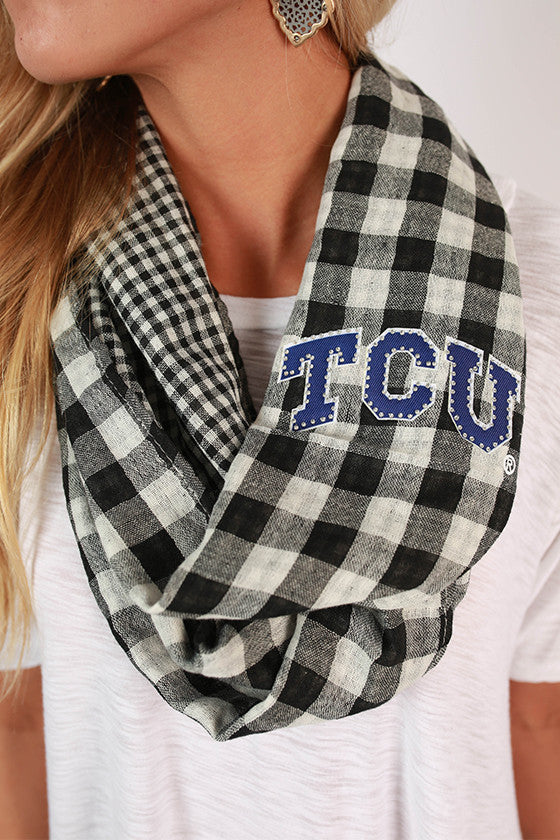 Texas Christian University Gingham Infinity Scarf