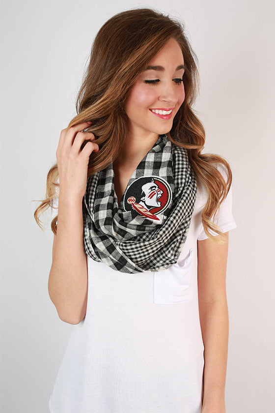 Florida State University Gingham Infinity Scarf