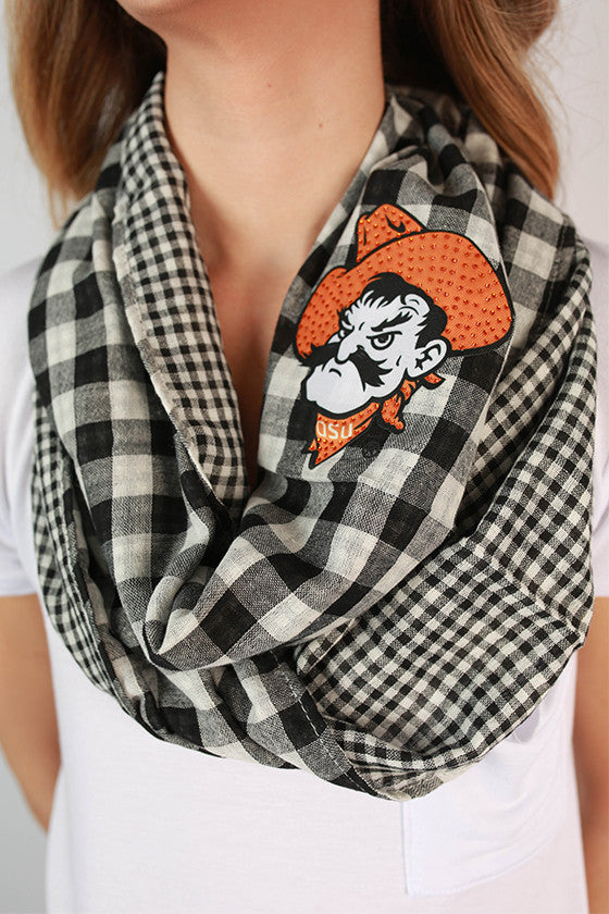Oklahoma State University Gingham Infinity Scarf