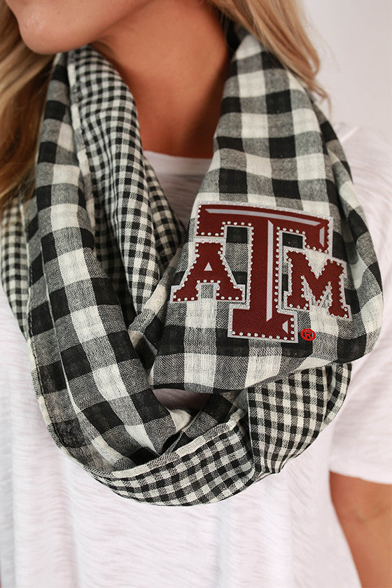 Texas A&M University Gingham Infinity Scarf