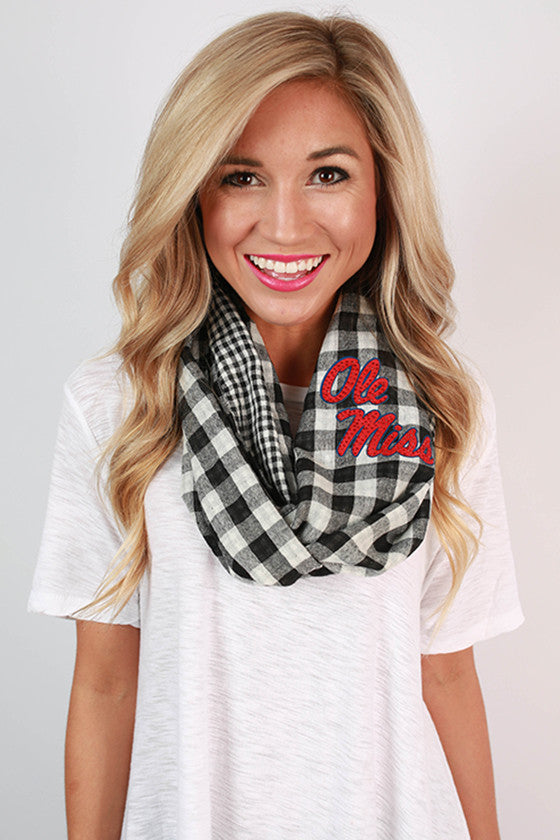 University Of Mississippi Gingham Infinity Scarf