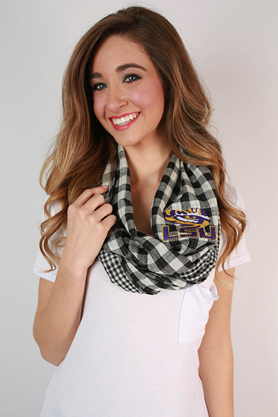 Louisiana State University Gingham Infinity Scarf
