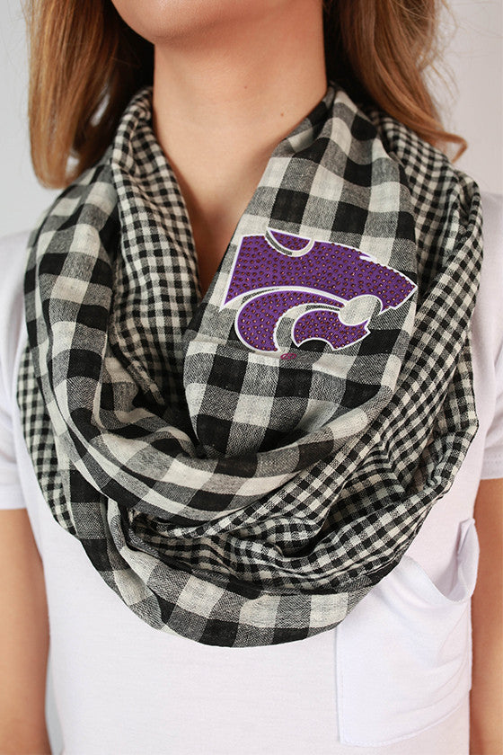 Kansas State University Gingham Infinity Scarf