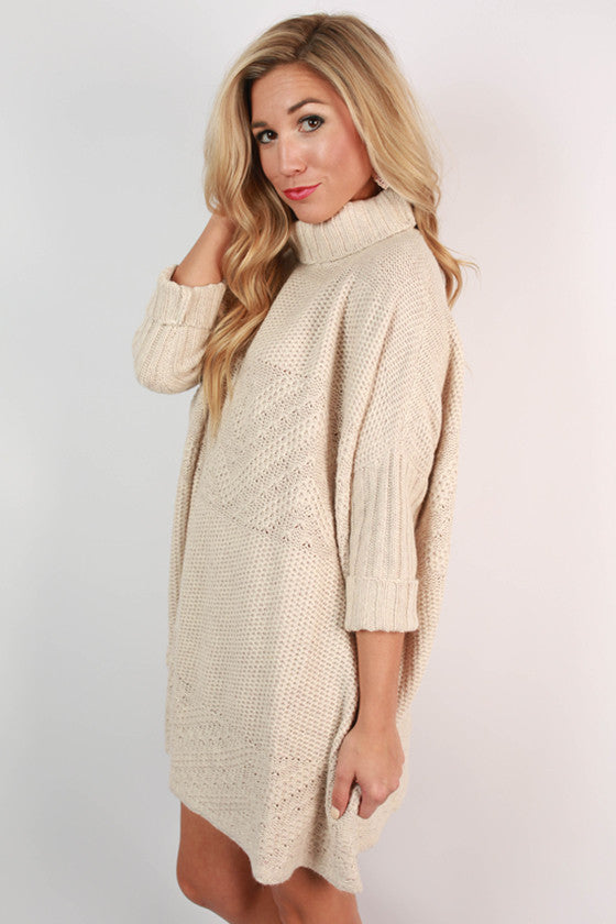 Luxe Cuddles Tunic Sweater in Champagne