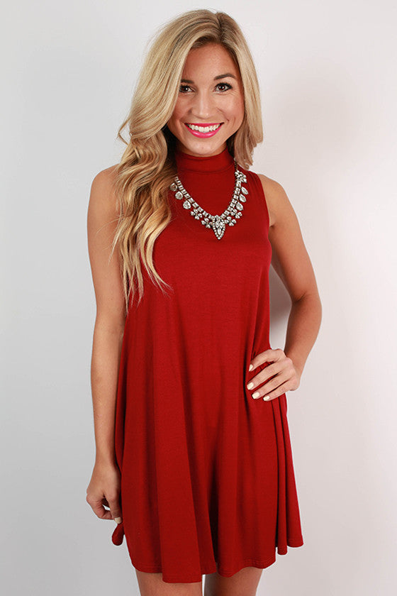 First Class Flight Tank Dress in Crimson