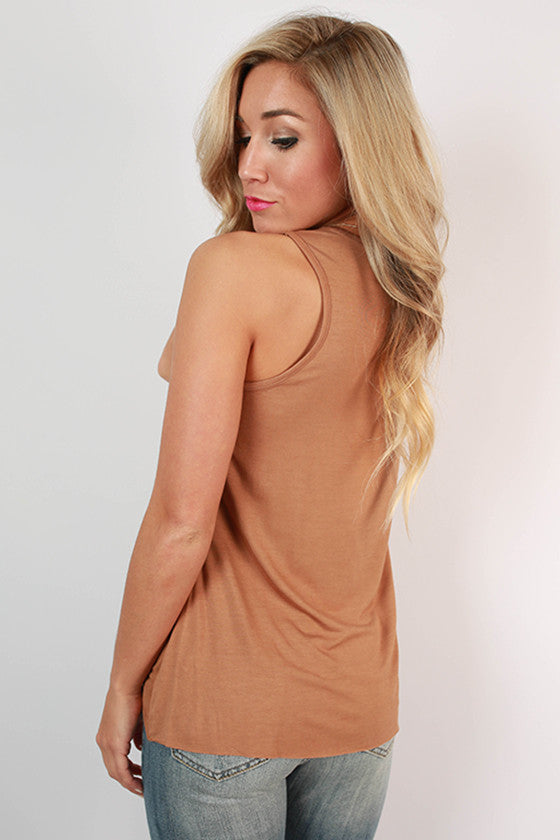 Wine on Rooftops Faux Suede Tank in Camel