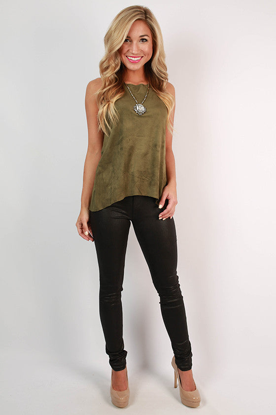 Wine on Rooftops Faux Suede Tank in Army Green
