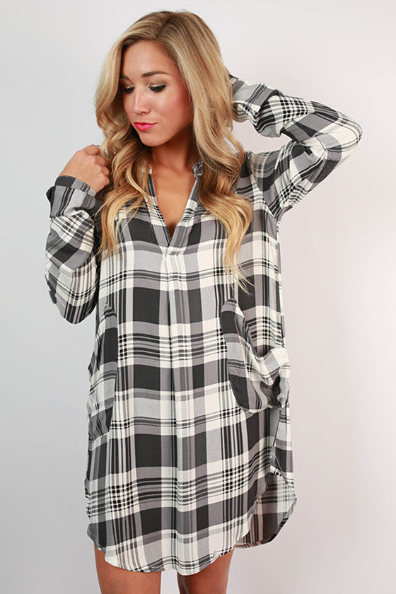 Plaid Occasion Shirt Dress in Black