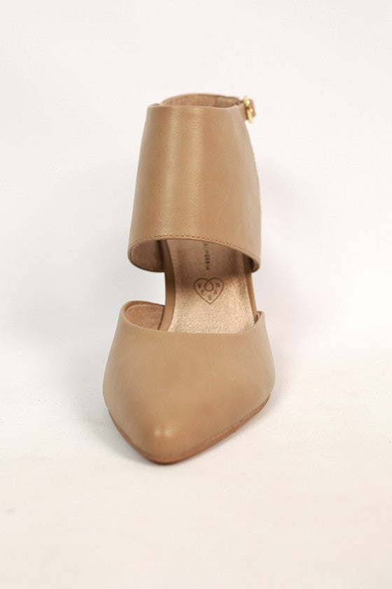 On the Sly Leather Heel in Taupe